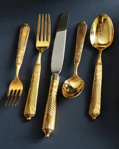 Shop Byzantine Gold-Plated Flatware Service from Yamazaki Tableware at Horchow, where you'll find new lower shipping on hundreds of home furnishings and gifts. Byzantine Gold, Look Retro, Stainless Steel Flatware, Dinnerware, Place Setting, Plating, Tableware, Kitchen Tools, Dining