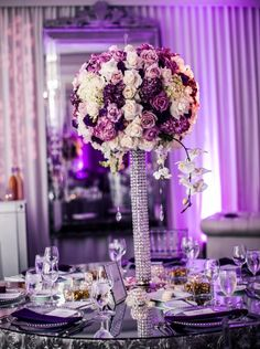 Classic Formal Hip Hollywood Glam Romantic Purple Silver White Ballroom California Centerpieces Fall Indoor Reception Outdoor Reception Place Settings Spring Summer Tablescape Wedding Reception Photos & Pictures - WeddingWire.com