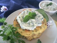 Kale Crumpets with Tzatziki Sauce Crumpets Toppings, Crumpet Recipe, Lactose Free Milk, Tzatziki Sauce, Egg And I, Savory Breakfast, Fresh Mint, Cooking Time, Healthy Snacks