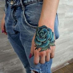 woman hand blue rose tattoo kadın el mavi gül dövmesi