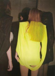 Margiela matching neon hair and dress.