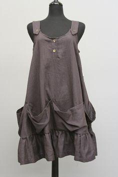 Champagne Linen Ruffle Jumper Dress