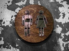 This listing is for one unisex restroom sign for any office or home needing that touch of hand crafted awesomeness. The mirrored figures reflect light 31