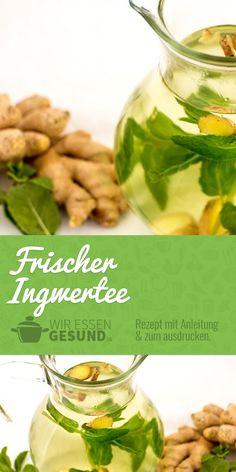 Frischer Ingwertee (Rezept) | Ingwertee ganz einfach selbst gemacht! Hier geht's zum Rezept: www.wir-essen-gesund.de/ingwertee-zubereiten/
