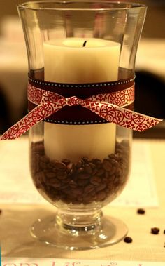 coffee bean, candle hurricane centerpieces... Something to do with the decaf coffee that hubs doesn't like!