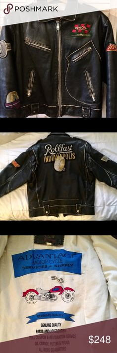 """Vintage 80's leather Moto jacket This jacket was made in London and I bought it in Florence Italy during the 80s. It's in perfect condition created with a distressed look. Black leather and heavy duty. Super fun jacket own and wear! Nice top of shoulder detail as well as expandable back as seen in photographs. Definitely one of a kind.  Measures: Pit to pit: 21"""" Back collar to hem: 26"""" Advantage London Other"""