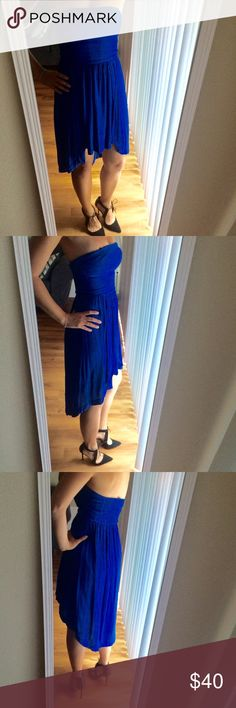 WEEKEND SALE🎉 Cobalt Blue Hi-Low Strapless Dress Stunning cobalt blue dress from Australian brand, Forever New (it's quite a bit fancier than the similarly named Forever 21). Hi-low hem. Strapless. Banded hem. Stretch back. Hidden hanger straps makes this easy to hang on a normal hanger. Only worn a couple times, but it's a serious show stopper! 100% viscose with a polyester lining. AUS 8. EUR 36. USA 4. Forever New Dresses Asymmetrical