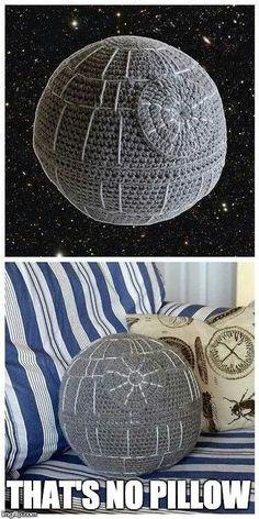 Death Star crochet pillow