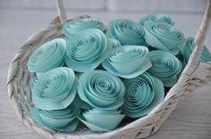 Tiffany Blue Spiral Paper Rosettes for Wedding Embellishment