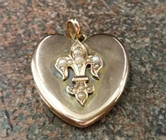 Antique Victorian 14 karat Yellow Gold Heart Locket with Seed Pearl Fleur de Lis on Etsy, $450.00