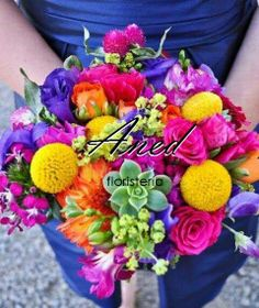 Not sure about the barn wedding but love this bouquet. Colorful barn wedding bright bridal bouquet with yellow billy balls and succulents Bright Wedding Flowers, Wedding Table Flowers, Bridal Flowers, Wedding Bouquets, Wedding Centerpieces, Rainbow Wedding, Yellow Wedding, Floral Wedding, Trendy Wedding