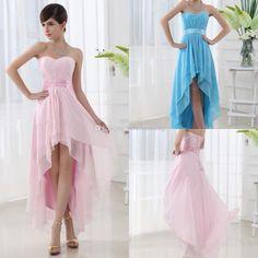 Wholesale Prom Dresses - Buy BM 2014 Stunning Chiffon Simple Bridesmaid Elegant Hi-low Sweetheart Sash Beaded Satin Wedding Dresses Front Short Back Long Bridal Gowns, $73.51   DHgate