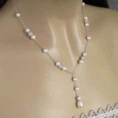 Pearl+Necklace++Wedding+Jewelry++Crystal+and+Pearl+by+JaniceMarie,+$50.00