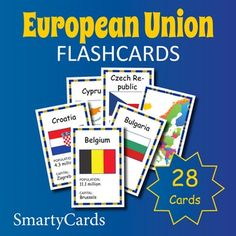 Europe Geography for Kids: Printable European Union Countries Flashcards. Countries Europe, European Union Members, European Flags, Flashcards For Kids, Geography For Kids, Printable Cards, Printable Flashcards, Kids Homework, Gaming