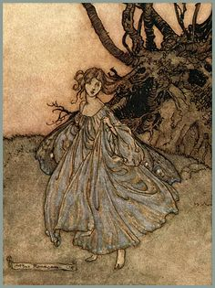 """Butterfly winged fairy by Arthur Rackham.  Puck to Titania's fairy: """"How now spirit! wither wander you?"""" -(detail)   ~ Note the dotted butterfly markings on her hem that mirror the markings on her butterfly wings   Arthur Rackhams' Illustration for Shakespeare's """"Midsummer Night's Dream"""" Watercolor, pen & ink (1908)"""