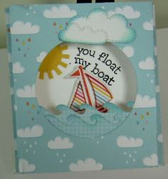 Lawn Fawn - Hello Sunshine 6x6 paper, Float My Boat, Spring Showers dies, _ cute dimensional card by Donna  Flickr - Photo Sharing!