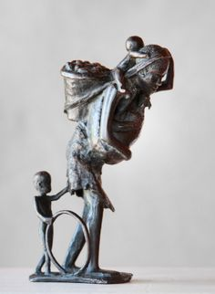 Woman carrying G-nuts by David Bwambale Centre, National Parks, David, Bronze, Sculpture, Statue, Woman, Gallery, Art
