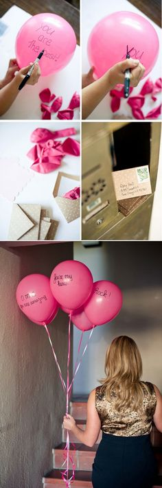 How to ask your bridesmaids. Blow up balloons do not tie them , write on them - send in an envelope with a card saying blow up balloons for a message ! :) so cute !
