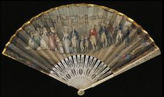 This fan is based on a painting by Johann Heinrich Ramberg and depicts the King and Royal Family attending the Royal Academy Exhibition.