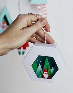 Christmas Ornaments printable downloads - DIY these 4 quick ornament crafts for your tree, mantel, shelf, and for gifts too! Smallful.com