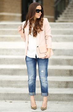 spring / summer, fall / winter, spring fashion, fall fashion, street style, street chic style, fall outfits, spring outfits, casual outfits, party outfits, valentine's day outfits - light pink blazer + white shirt + statement necklace + boyfriend jeans + leopard print heels + light pink clutch + black sunglasses