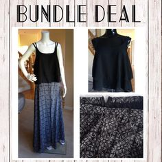 ☀️Buy this bundle and save!☀️ ☀️Buy this bundle and save!☀️ Top is a sheer chiffon crop tank paired with a full length lined skirt. Skirt has zipper a zipper closer with top hook as shown in picture. Beautiful evening outfit for a casual dinner. Both top and bottom are a size medium. The top is also great with a pair of denim shorts for a more casual day of shopping! Items in this bundle also have single listings - only one top available in black. Tops