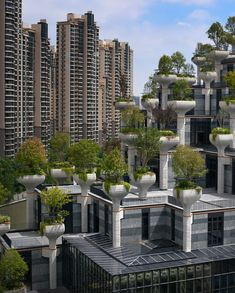 Heatherwick Studio has released photography of its plant-covered Trees development in Shanghai, which has had its scaffolding removed. Types Of Granite, Singapore Changi Airport, China Architecture, Hotel Architecture, Thomas Heatherwick, Concrete Column, Green Facade, Singular, Planning Permission