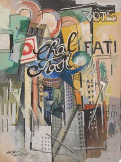 Albert Gleizes (1881-1953, French), 1915, Chal Post, oil and gouache on board. iL #Cubism