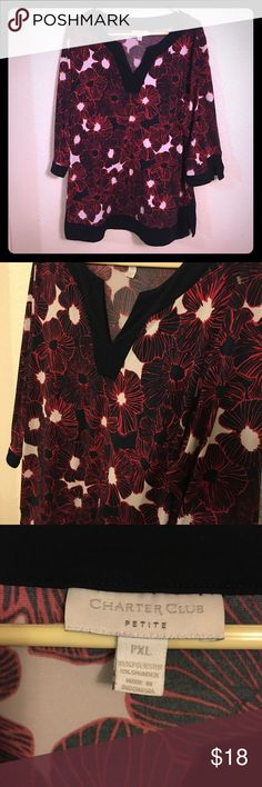 Bold Floral Tunic Top Red black and white tropical Floral Top in size petite XL by Charter Club Charter Club Tops Tunics