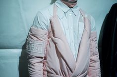 Pink padded suiting backstage at Hood By Air AW15 at Pitti Uomo. See more here: http://www.dazeddigital.com/fashion/article/23218/1/hood-by-air-aw15-arca-soundtrack-stream