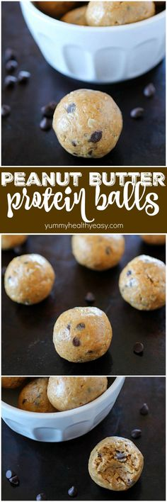 Protein balls filled with peanut butter, protein powder and oats make the most delicious on-the-go snack. Only 5 ingredients to a yummy and healthy snack.