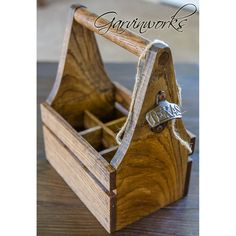 Solid oak beverage tote. Put a six pack of your favorite springtime refreshments in here, condiments, or use it to hold silverware at your next party! The center dividers can even be removed for more decor options. 100% handmade in the USA by Garvinworks.