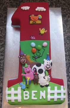 First birthday farm theme cake - - I like the cake being in the shape of a #1