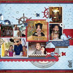 Disney Cruise scrapbook page.cute idea after trip Cruise Scrapbook Pages, Vacation Scrapbook, Scrapbook Page Layouts, Scrapbook Paper Crafts, Scrapbook Supplies, Scrapbook Cards, Scrapbooking Ideas, Bridal Shower Scrapbook, Disney Cruise Line