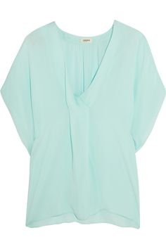 L'AGENCE Draped Silk-Chiffon Top. #lagence #cloth #top