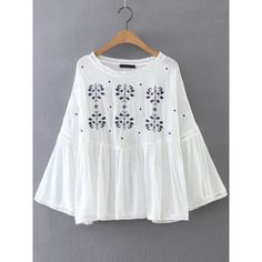SheIn(sheinside) Flower Embroidery Bell Sleeve Blouse ($23) ❤ liked on Polyvore featuring tops, blouses, white, white bell sleeve blouse, flared sleeve blouse, white bell sleeve top, white embroidered blouse and white long sleeve top