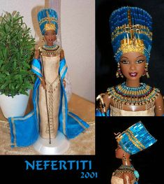 the egyptian queen nefertiti version 1 barbie repaint African Dolls, African American Dolls, Beautiful Barbie Dolls, Vintage Barbie Dolls, Diva Dolls, Dolls Dolls, Barbie Princess, Thinking Day, Black Barbie