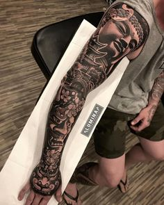 Japanese full sleeve done one sitting at , swipe for another side🔥🔥🔥… Asian Tattoo Sleeve, Samurai Tattoo Sleeve, Arm Sleeve Tattoos, Japanese Sleeve Tattoos, Tattoo Sleeve Designs, Tattoo Arm, Tattoo Japanese, Sleeve Tattoo For Guys, Geisha Tattoo Sleeve