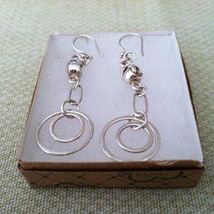 Silver Earrings Chain/Rings/Bead