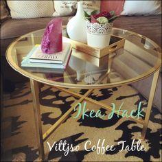 Ikea Hack Coffee Table End table? Coffee Table Ikea Hack, Coffee Tables For Sale, Round Coffee Table, Rental Home Decor, Diy Home Decor, Vittsjo Hack, Honey Coffee, Ikea Hack Kitchen, Diy Furniture Projects