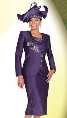 Style: BM47607  Sizes: 12 14 16 18 20 22 24  Colors: Purple   3pc Shantung Ben Marc Designer Sunday Suit