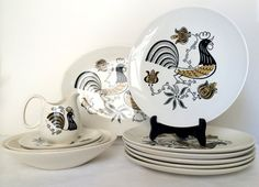 Vintage 1950's Good Morning by Royal Dishes Dinnerware Set Mid Century Modern Rooster Kitchenware