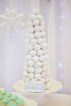 Edible snowballs at a winter ONE-derland birthday party! See more party ideas at CatchMyParty.com!