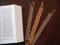Very simple design but really nice use of color. Sometimes less is more and all that!Tatting bookmarks in  cotton thread by ShopGift on Etsy, $10.00