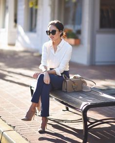 """Anh on Instagram: """"Classic for the office 💙 I've partnered with @ministryapparel for the launch of their womenswear collection! And just like their line for men: it's wrinkle-resistant and machine-washable...perfect for work. New post at http://www.9to5chic.com #ootd #workoutfit #sponsored"""""""