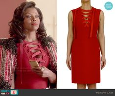 a1ebed33a6b Cookie s red lace-up dress and red textured coat on Empire