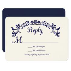Love Birds Reply Card Navy Blue Card - wedding invitations cards custom invitation card design marriage party