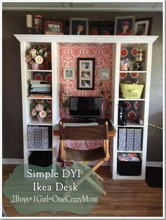 Finished IKEA Expedite desk creation #DYI project makeover -Using fabric as wallpaper-easy to apply-easy clean up!