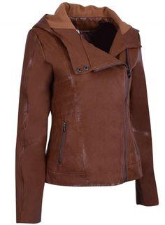 Fashion Oblique Zipper PU Leather Hooded Jacket OASAP.com