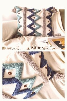 How To Make Pillows, Diy Pillows, Decorative Pillows, Throw Pillows, Cushion Embroidery, Diy Embroidery, Boho Cushions, Punch Needle Patterns, Contemporary Embroidery